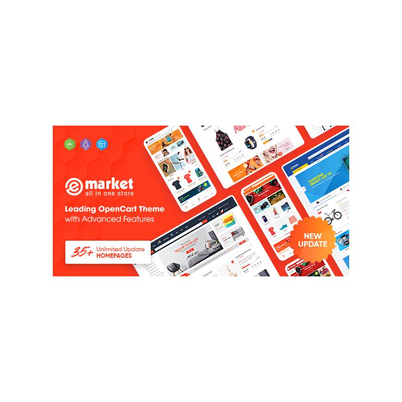 EMarket - Çok Amaçlı Market Place OpenCart 3 Teması