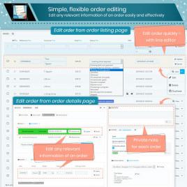 Order Manager Düzenleme, silme, dışa aktarma, hızlı görüntüleme